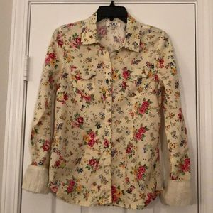 Floral snap-up western shirt with striped cuffs